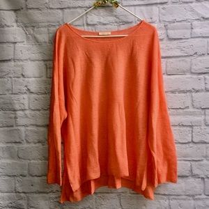Eileen Fisher Tangerine Linen Blend Boxy Sweater